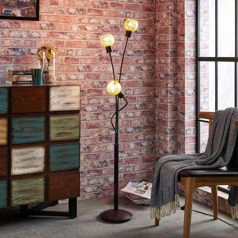 3-bulb floor lamp Julien, glass with gold film