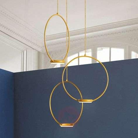 3-bulb, golden LED hanging light Odigiotto