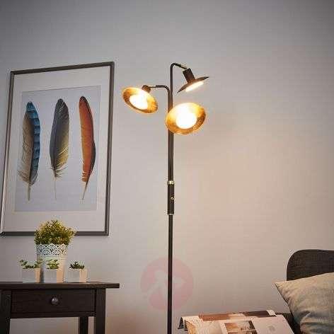 3-bulb LED floor lamp Andrej, black-gold