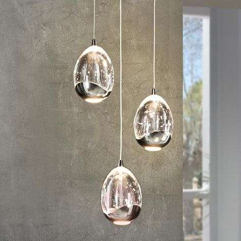 3-bulb LED hanging light Rocio in chrome