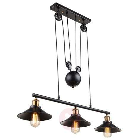 3-bulb pendant light Viktor - height-adjustable