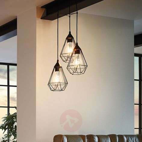3-bulb vintage pendant light Tarbes in black