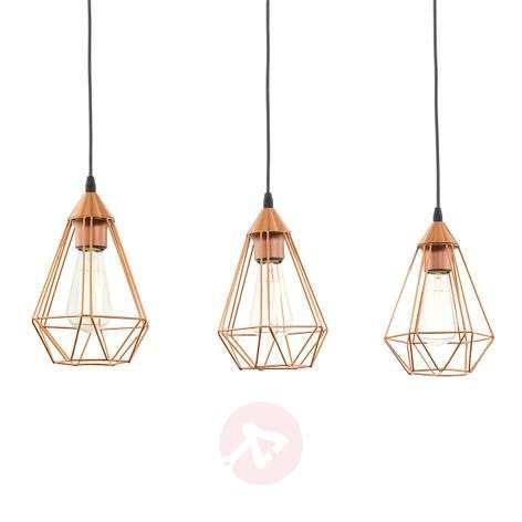 3-bulb vintage pendant light Tarbes in copper