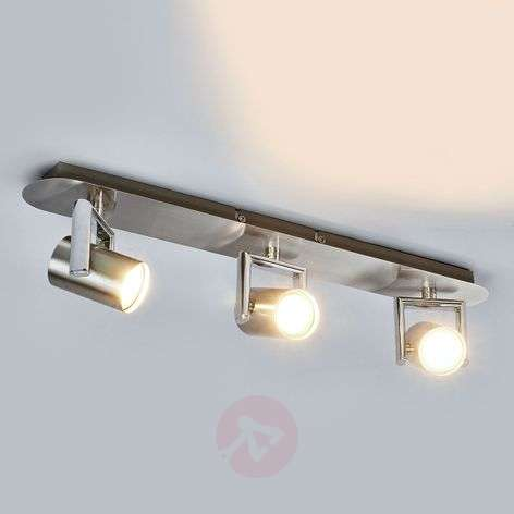 3-light Luciana LED ceiling light, nickel