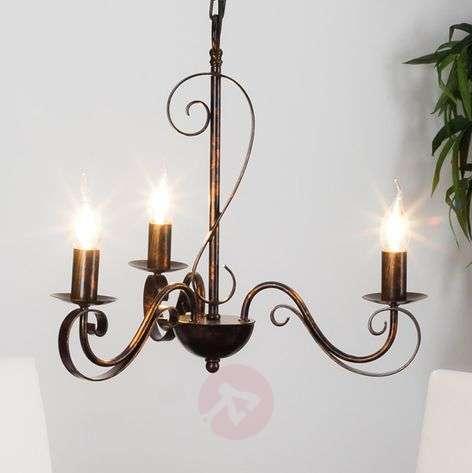 3-light rust-coloured chandelier Caleb