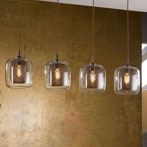 4-bulb Fox hanging light with double lampshades-8582297-31
