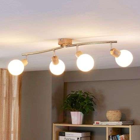 4-bulb LED ceiling lamp Svenka with wood effect