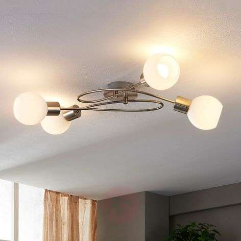 4-bulb LED ceiling light Hailey, nickel-9621040-32