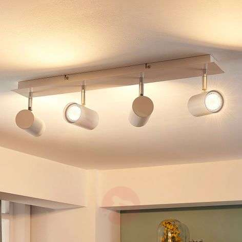 4-bulb LED ceiling spotlight Iluk, white finish