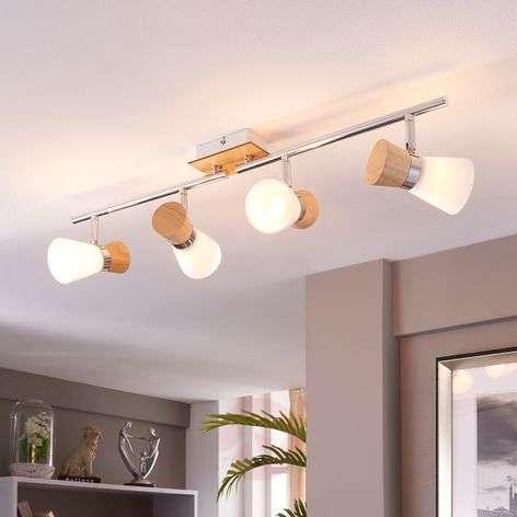 4-bulb wooden ceiling spotlight Vivica