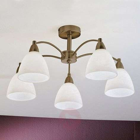 5-bulb ceiling lamp Kinga with antique brass look