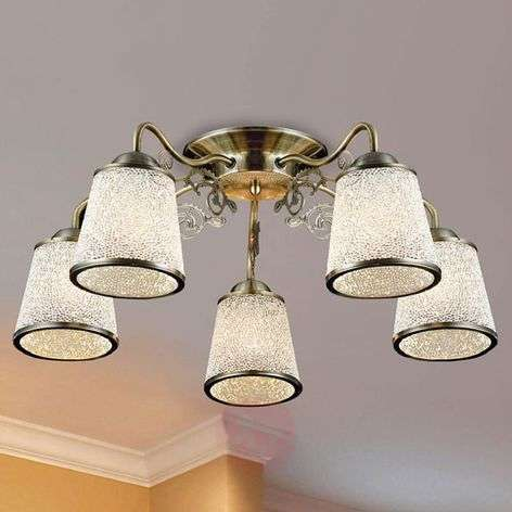 5-bulb ceiling lamp Ring with structured glass