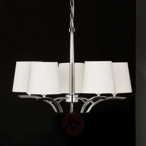 5-bulb chandelier with lampshades
