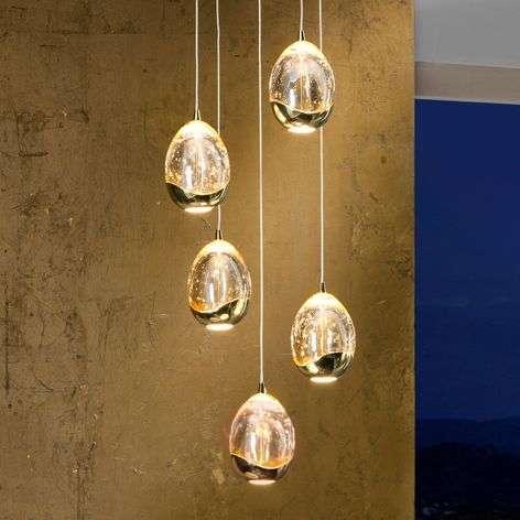5-light, gold-coloured LED hanging light Rocio
