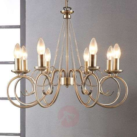 8-bulb Marnia chandelier in antique brass