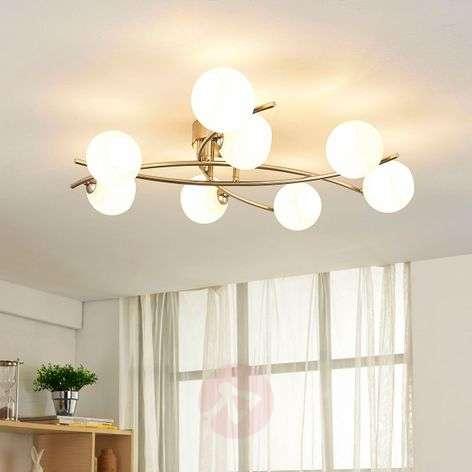 8-light ceiling light Muriel with opal glass