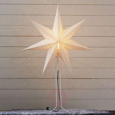 85 cm high - white paper star Huss with metal base