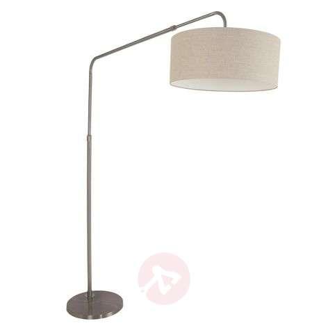 Adjustable arc lamp Gramineus, fabric lampshade