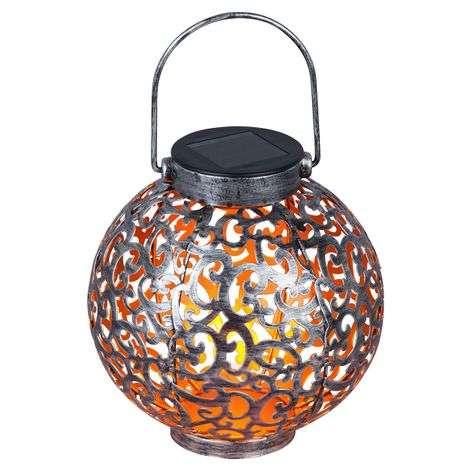 Adriano LED solar lantern, ornamentation, silver