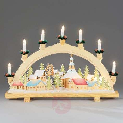 Advent candle arch Christmas Village, 57 cm