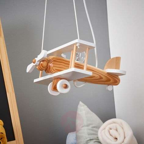 Aeroplane pendant light, white, wooden elements