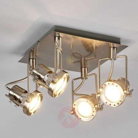 Agidio LED ceiling lamp, 4-light, satin nickel