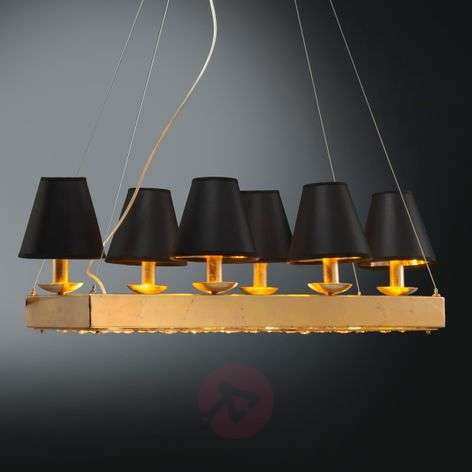 Alana gilded hanging light with black lampshades