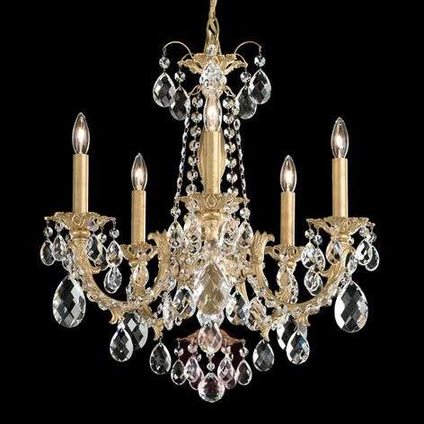 Alea - chandelier with crystals and gold finish