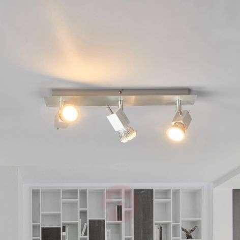 Aluminium ceiling lamp Sevina, 3-bulb