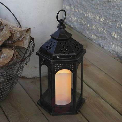 Amber LED lantern, 33 cm, black