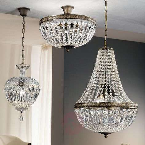 Andara ceiling light, glass crystal chains Ø 40cm