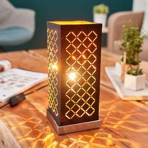 Angular, black-gold table lamp Julita, 25 cm
