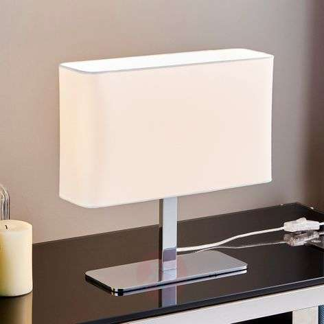 Angular, white fabric table lamp Nisa