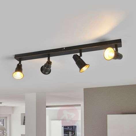 Antique black ceiling lamp Arielle, four-bulb