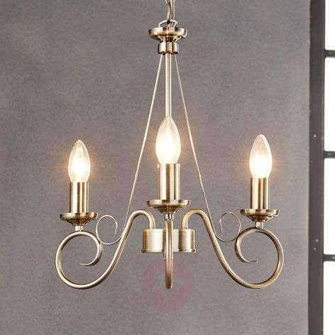 Antique brass chandelier Marnia, 3-bulb