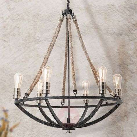 Antique-looking Gita chandelier, 6-bulb