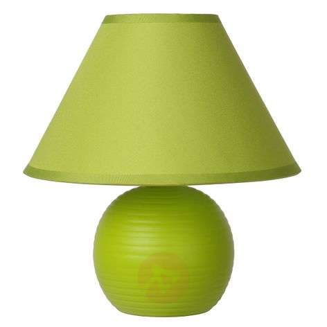 Apple green Kaddy table lamp with cotton lampshade