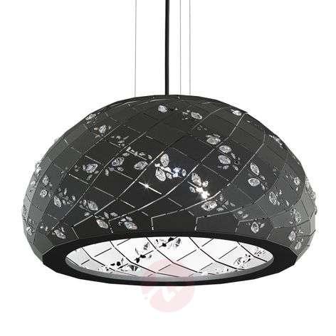 Apta - black pendant light with crystals, 53cm