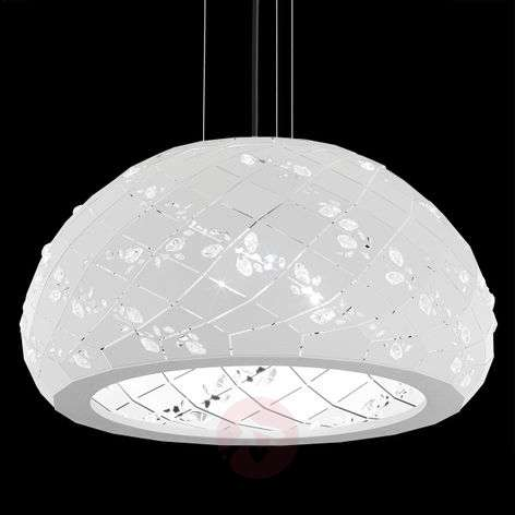 Apta crystal-studded hanging light in white, 53 cm