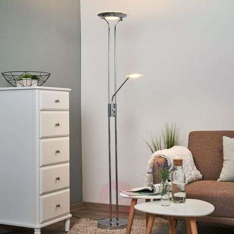 Aras - LED floor lamp with reading lamp, chrome