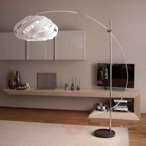 Arc lamp Plaza with a nest-shaped lampshade, white-1056040-31