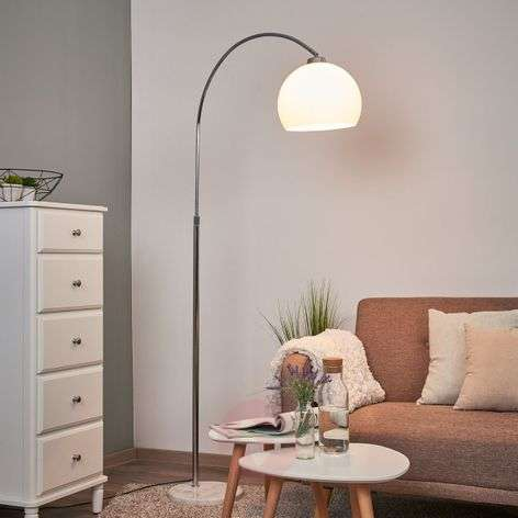Arc lamp Sveri, marble base and white lampshade-9945219-31