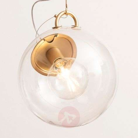 Artemide Miconos glass pendant light in brass