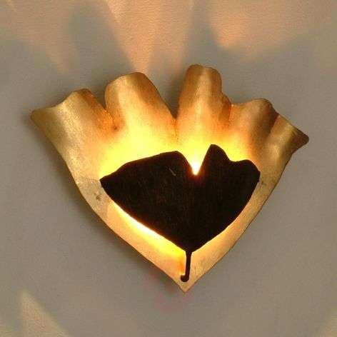 Artistic LED wall light Ginkgo in gold-brown