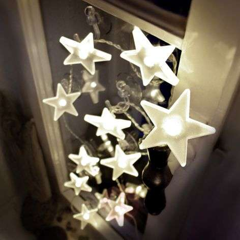 Attractive LED star string lights, matt, 2m