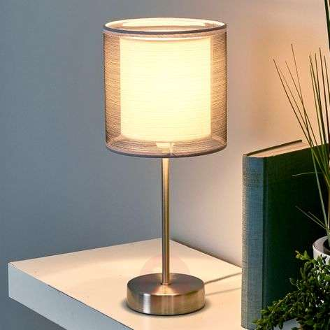 Attractive Nica bedside table lamp in grey
