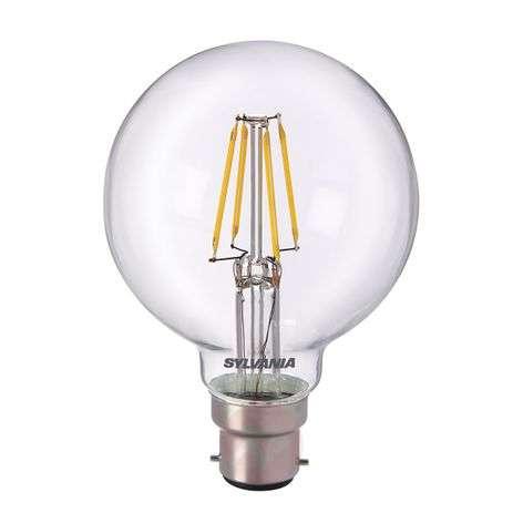 B22 5W 827 LED globe bulb, clear