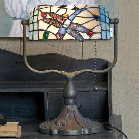 Banker lamp Dragonfly, Tiffany-style