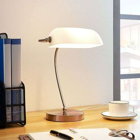 Banker's lamp Selea with a white glass lampshade