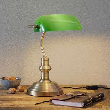 Bankers classic table lamp 42 cm green